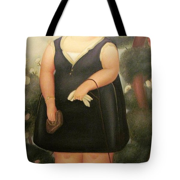 woman in Black Botero Tote Bag