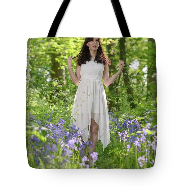 Woman In Bluebell Woodland Tote Bag