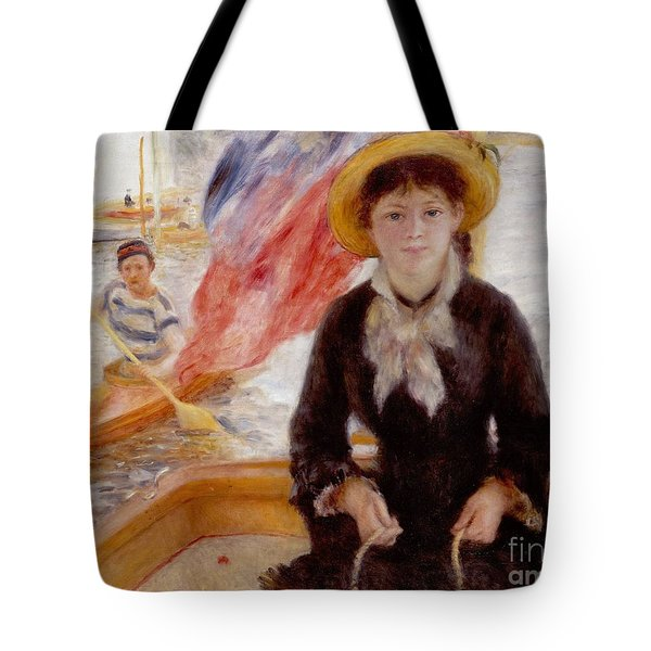 Woman In Boat With Canoeist Tote Bag by Renoir