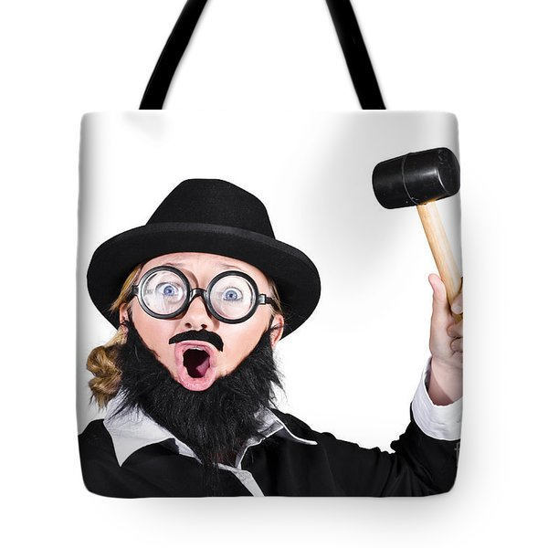 Woman In Men's Clothing Holding Mallet Tote Bag