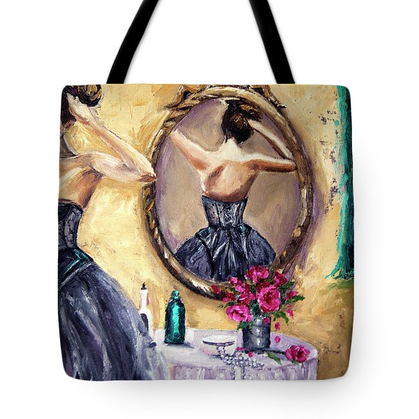 Tote Bag featuring the painting Woman In Mirror by Jennifer Beaudet