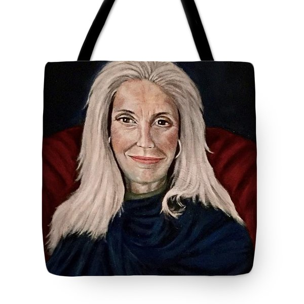 Woman In Red Chair Tote Bag