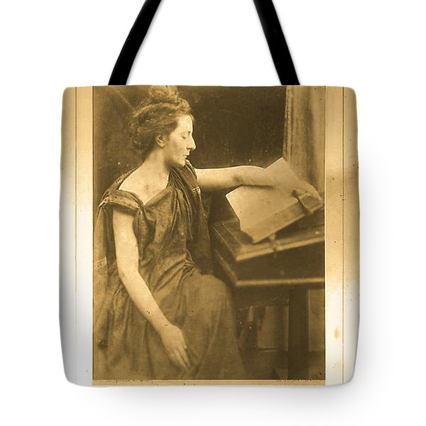 Tote Bag featuring the digital art Woman In Robe Reading A Book by Asok Mukhopadhyay
