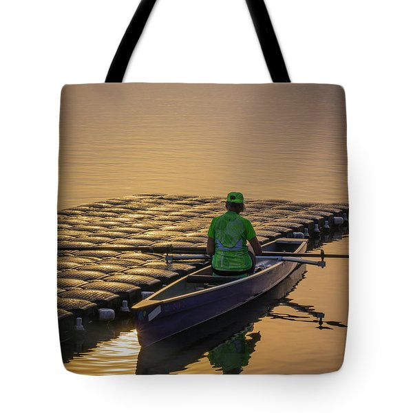 Woman In Row Boat. Tote Bag