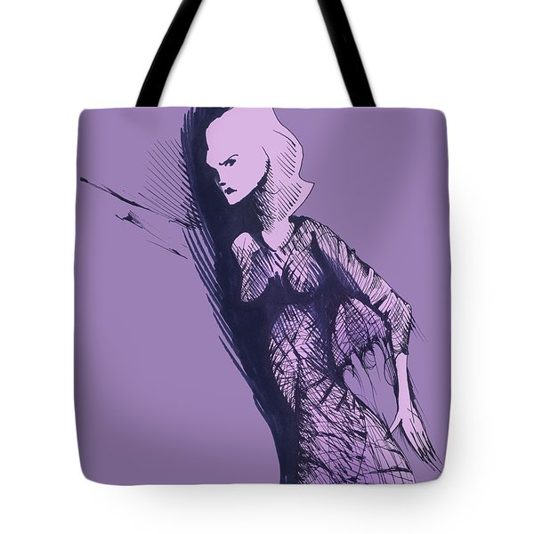 Tote Bag featuring the drawing Woman In Shadows by Keith A Link