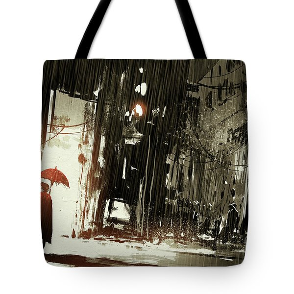 Tote Bag featuring the painting Woman In The Destroyed City by Tithi Luadthong