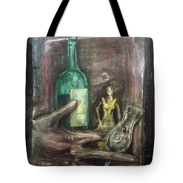 Tote Bag featuring the painting Woman In Yellow Dress by Keith A Link