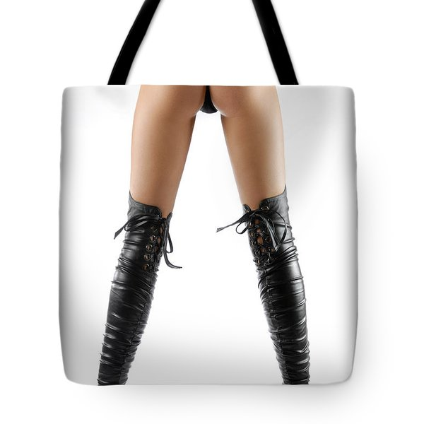 Woman Legs In Black Sexy Thigh High Stiletto Boots Tote Bag