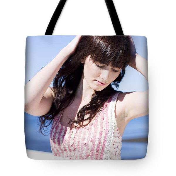 Woman Letting Her Hair Down Tote Bag