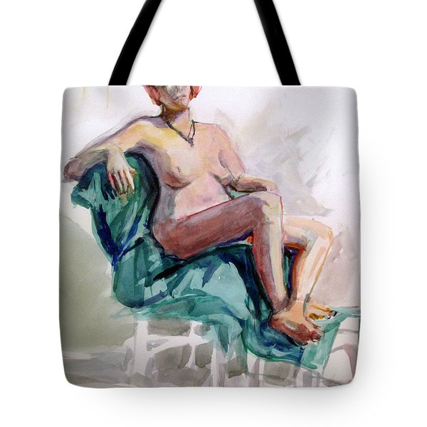Woman On A Blue Cloth Tote Bag by Mark Lunde