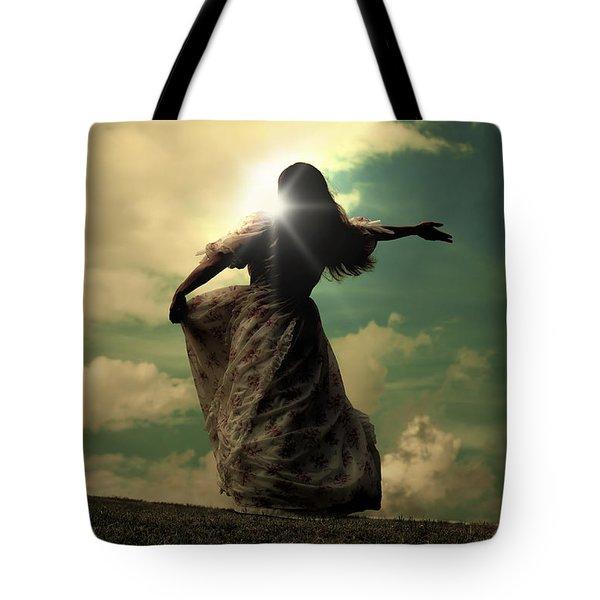 Woman On A Meadow Tote Bag by Joana Kruse