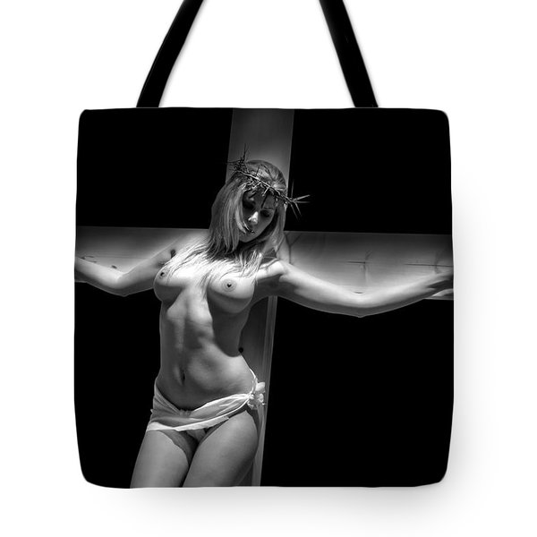Woman On Cross Tote Bag