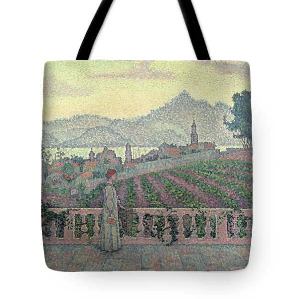 Woman On The Terrace Tote Bag by Paul Signac