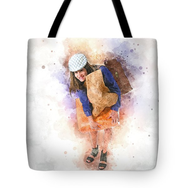 Woman Out Shopping A1 Tote Bag