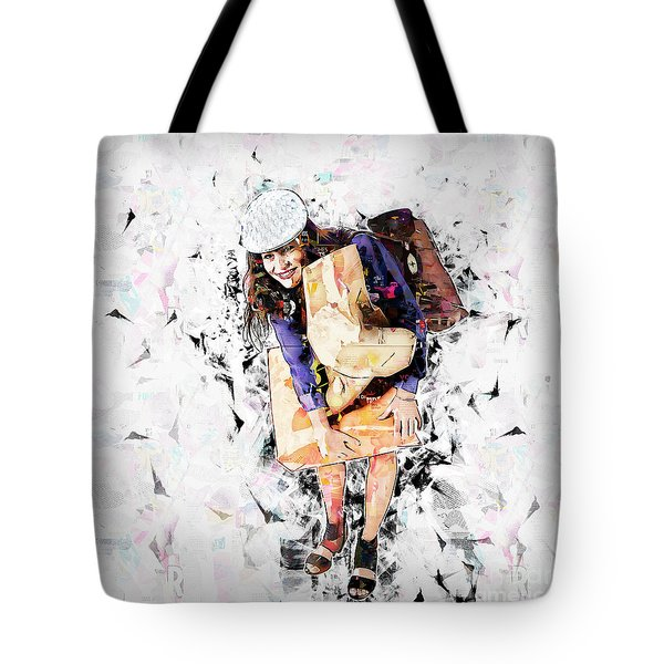Woman Out Shopping A4 Tote Bag