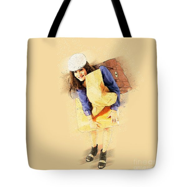 Woman Out Shopping A5 Tote Bag