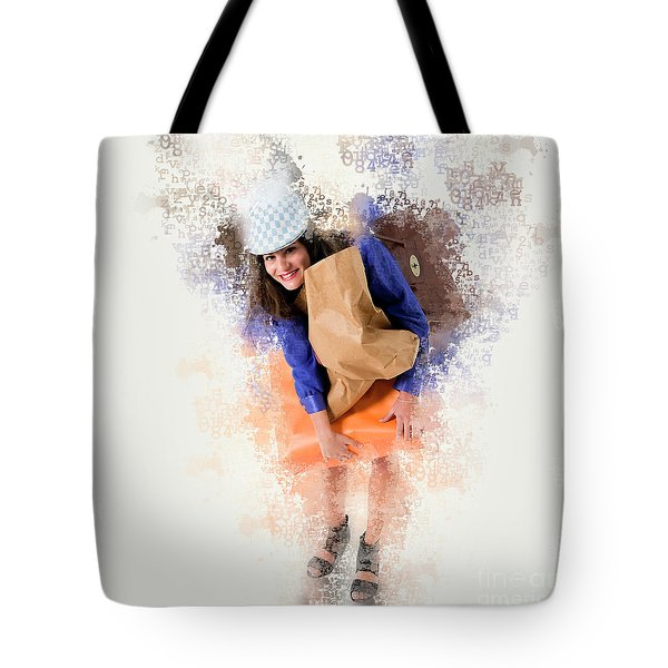 Woman Out Shopping A6 Tote Bag
