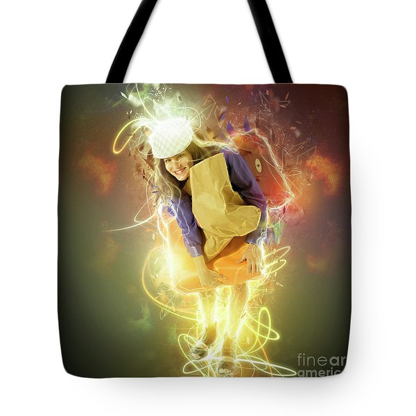 Woman Out Shopping A7 Tote Bag