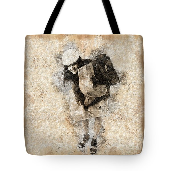 Woman Out Shopping A8 Tote Bag
