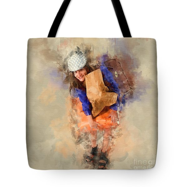 Woman Out Shopping A9 Tote Bag