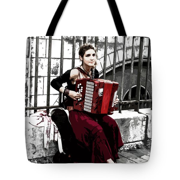 Woman Playing Accordion Tote Bag