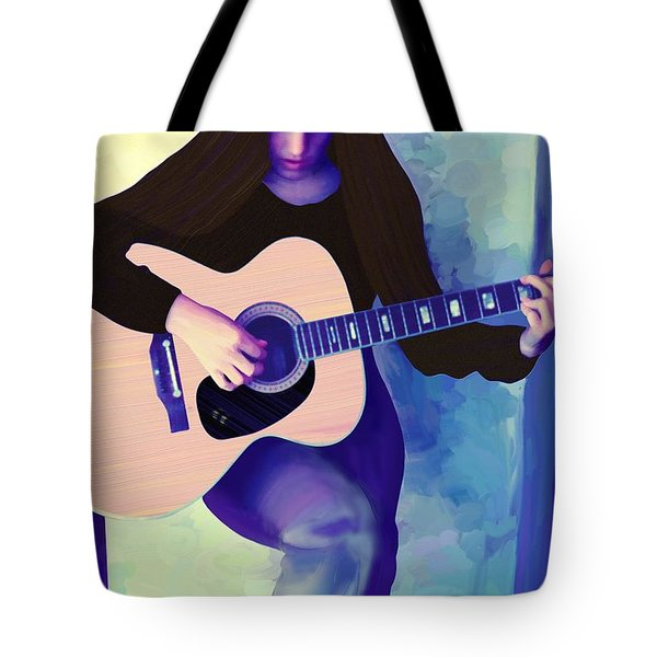 Woman Playing Guitar Tote Bag