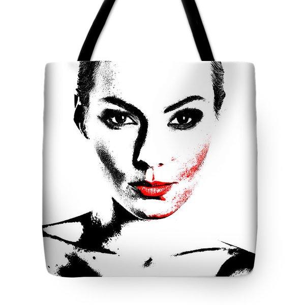 Woman Portrait In Art Look Tote Bag