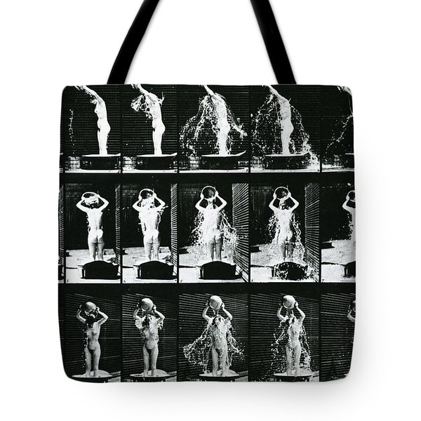 Woman Pouring A Basin Of Water Over Her Head Tote Bag