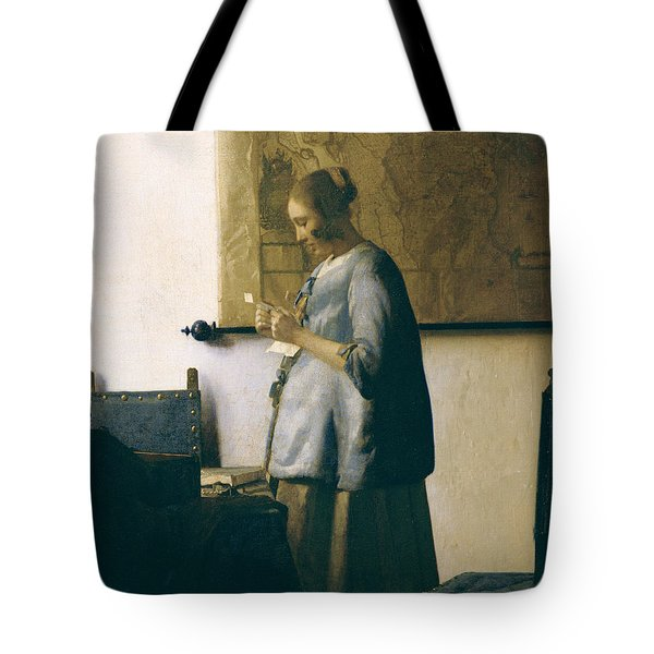Woman Reading A Letter Tote Bag by Jan Vermeer