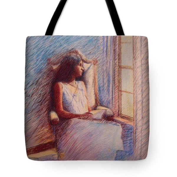 Woman Reading By Window Tote Bag