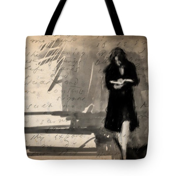 Woman Reading Tote Bag by H James Hoff