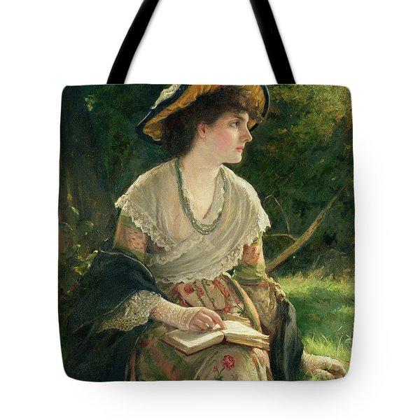Woman Reading Tote Bag