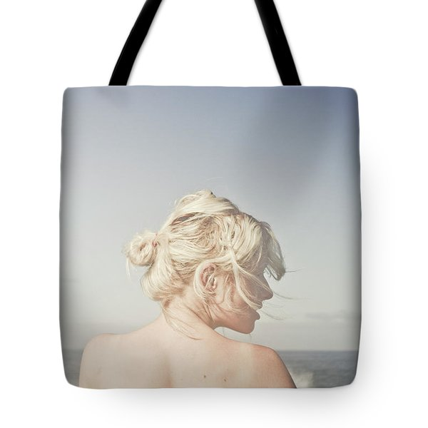Woman Relaxing On The Beach Tote Bag
