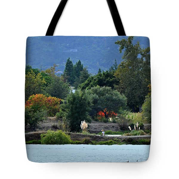 Woman Resting By A Lake Tote Bag