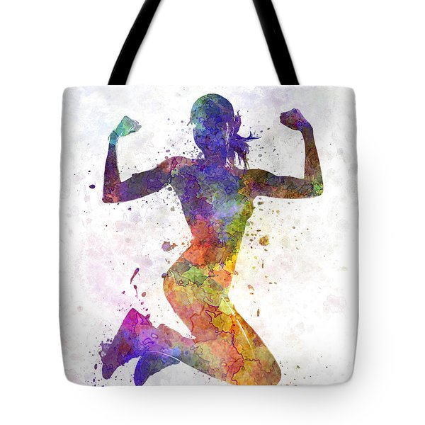 Woman Runner Jogger Jumping Powerful Tote Bag