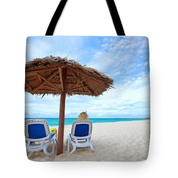 Woman Sitting Under Beach Umbrella Tote Bag by Charline Xia