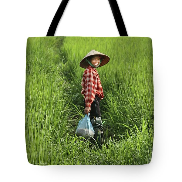 Woman Smile Rice Fields Tote Bag