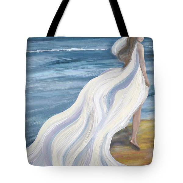 Woman Strolling On The Beach Tote Bag
