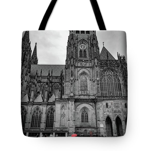 Woman Walking In The Rain With A Red Umbrella At The Prague Castle Tote Bag