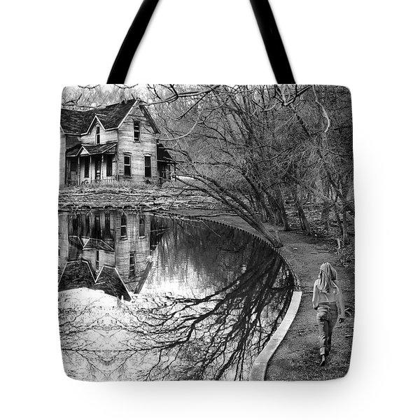 Woman Walking To Old House Tote Bag by Jill Battaglia