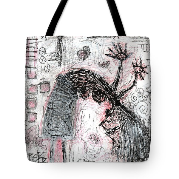 Tote Bag featuring the painting Woman Walking Upside Down by Rick Baldwin