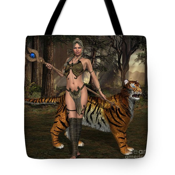 Woman Warrior And Cat Tote Bag