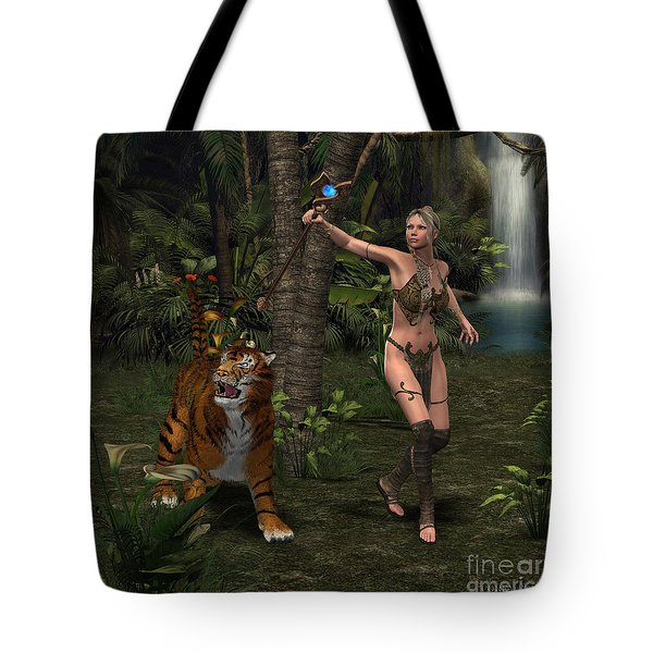 Woman Warrior With Tiger Tote Bag