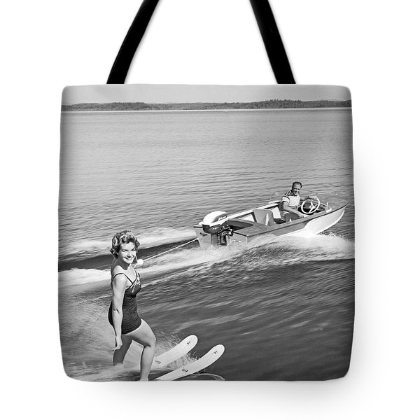 Woman Water Skiing Tote Bag