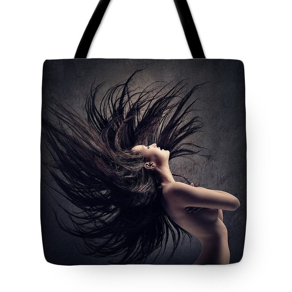 Woman Waving Long Dark Hair Tote Bag
