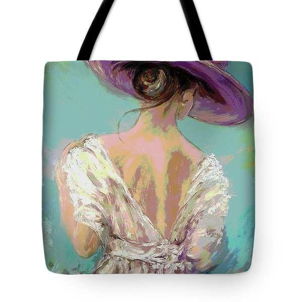 Woman Wearing A Purple Hat Tote Bag