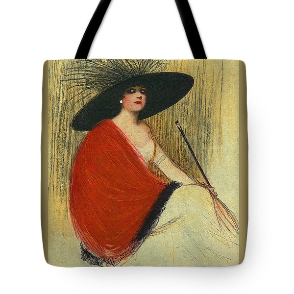Tote Bag featuring the digital art Woman Wearing Hat by Robert G Kernodle