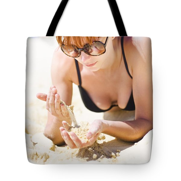 Woman Weighing Up Travel Decisions Tote Bag