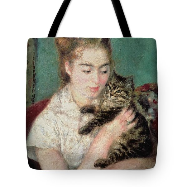 Woman With A Cat Tote Bag by Pierre Auguste Renoir