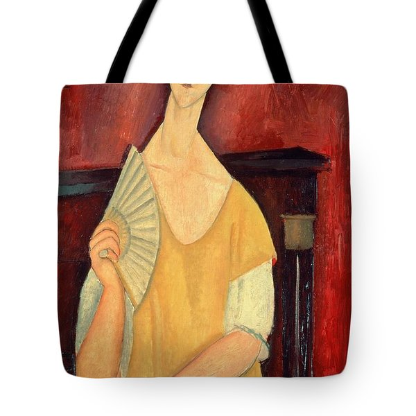 Woman With A Fan Tote Bag by Amedeo Modigliani